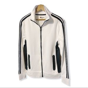 Express white/black stripe zip up track jacket XS
